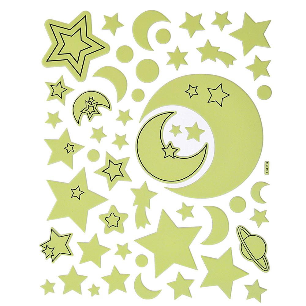 Наклейка декоративная флуоресцентная, ПВХ, 26,5х21см, 4 дизайна