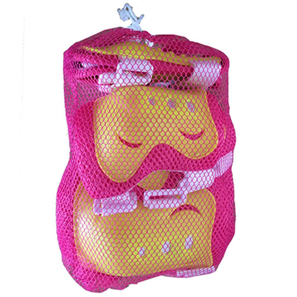 Набор защиты (колени, локти, запястья) желтый/розовый, размер M, арт.LF-0240