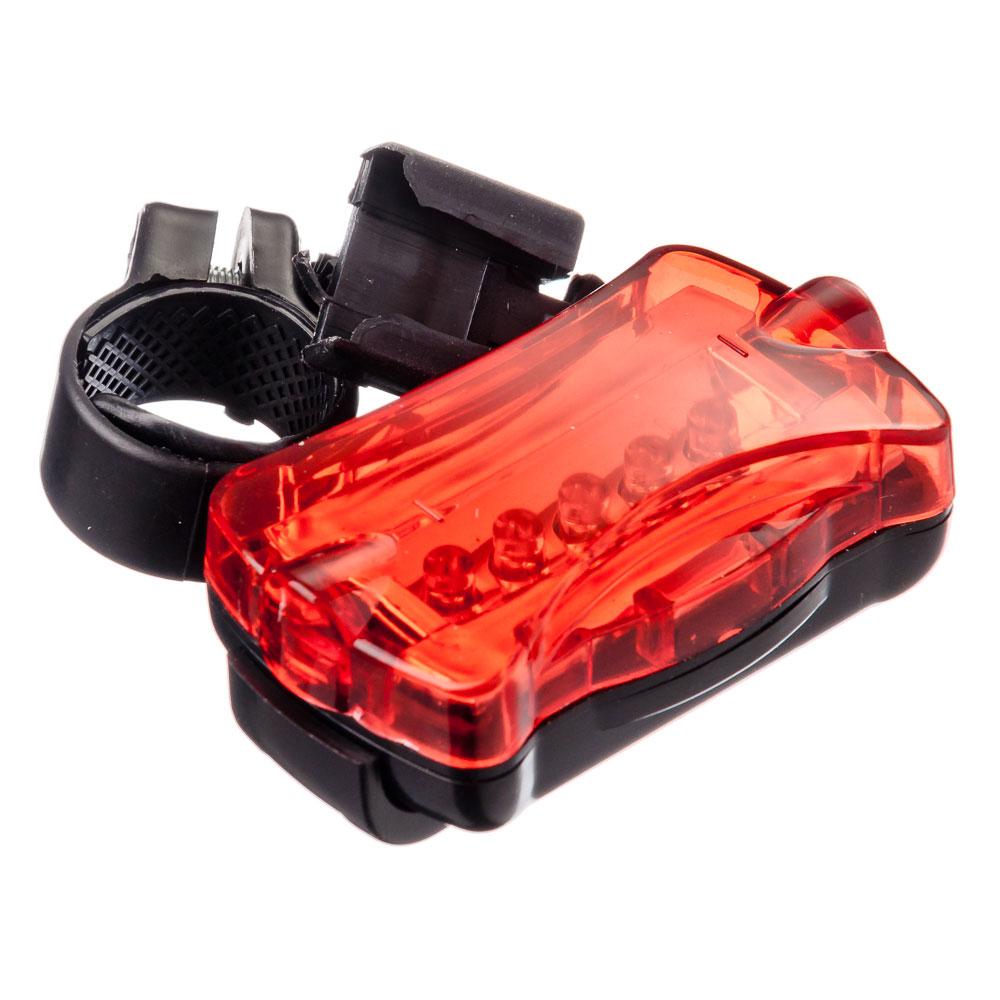 Фонарь велосипедный задний, 7 режимов, 5 диодов, пит.батар. 2xААА, 7х4х3 см, пластик, красный, SILAP