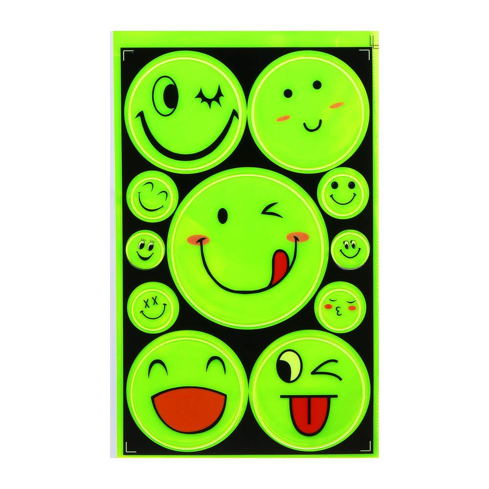 """Наклейка светоотражающая, d 8;6;2 см, ПВХ, 11 шт, SILAPRO """"С улыбкой"""""""