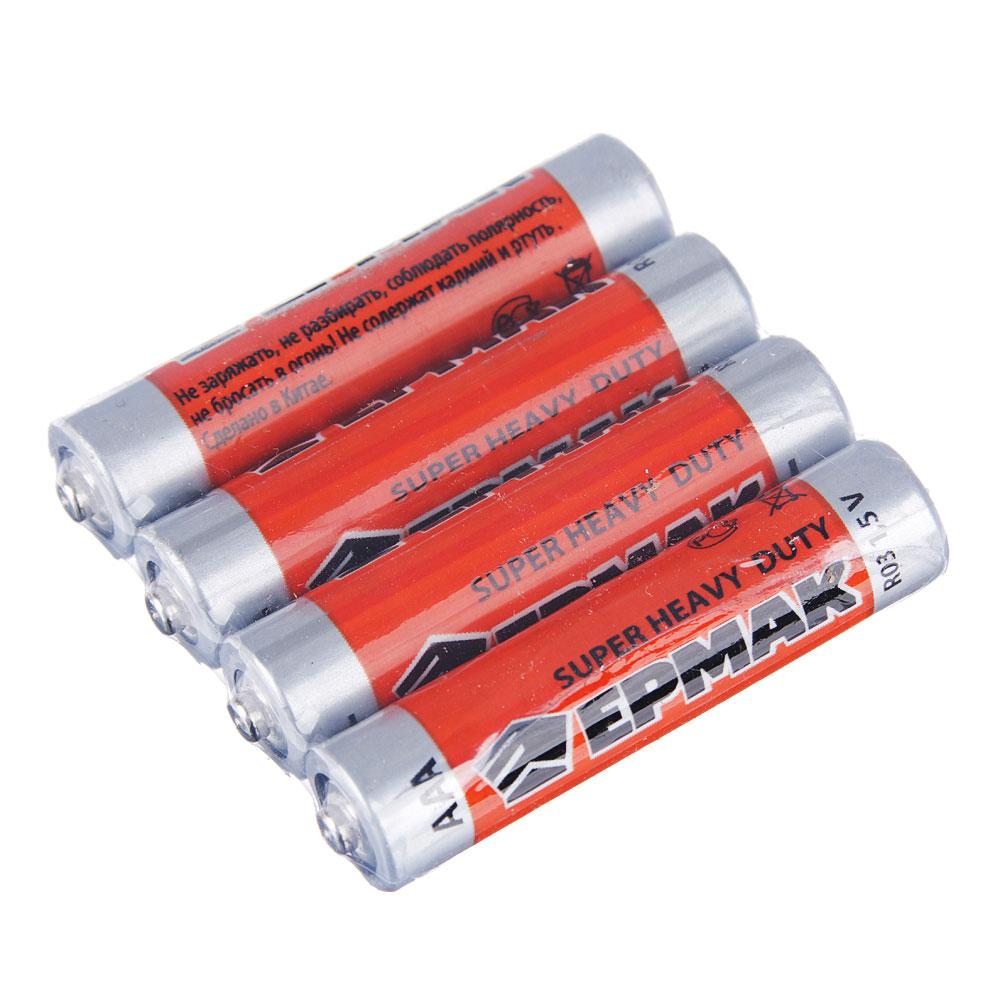 "ЕРМАК Батарейки 4шт ""Super heavy duty"" солевая, тип AAA(R03), плёнка"