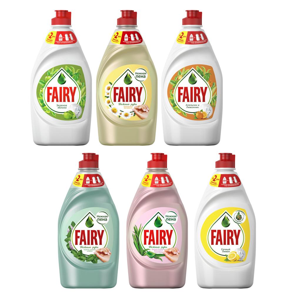 Средство для мытья посуды FAIRY Сочный лимон/Нежные руки Ромашка и витамин Е,п/б 450мл,арт.81628055