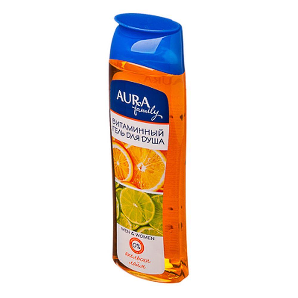 Гель для душа AURA витаминный Апельсин и лайм family п/б 260мл арт.04538