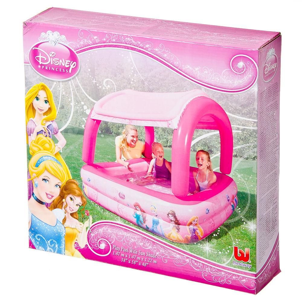BESTWAY Бассейн надувной с тентом от солнца 147х147х122см, 265л, Disney Princess, арт.91057