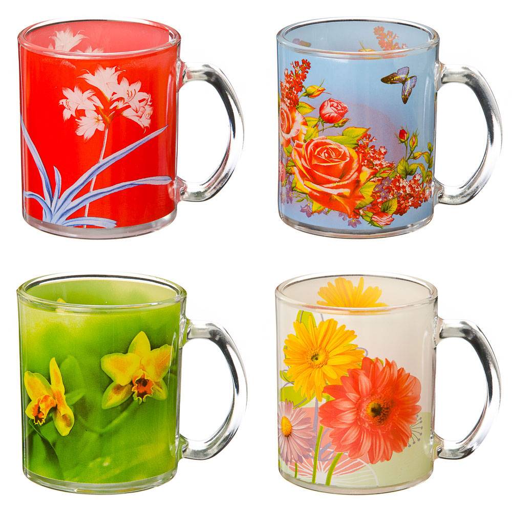 "VETTA Кружка стеклянная, 350мл, ""Летние цветы"", 4 дизайна"