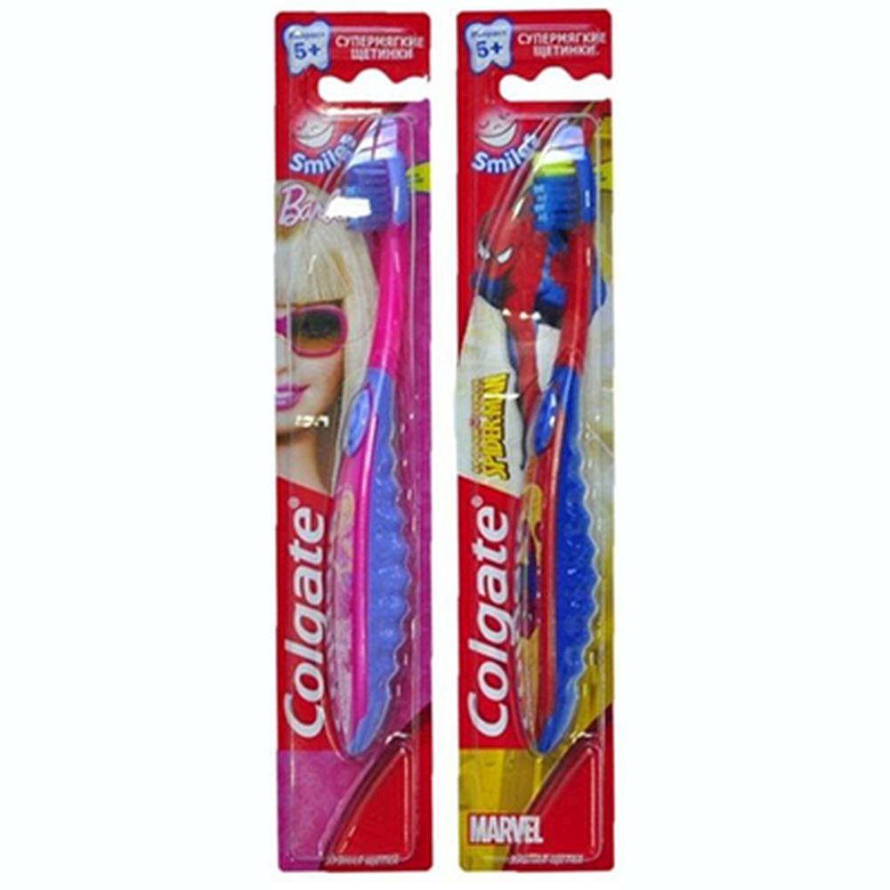 Зубная щетка COLGATE Barbie/Spiderman детская от 2 до 5 лет супермягкие