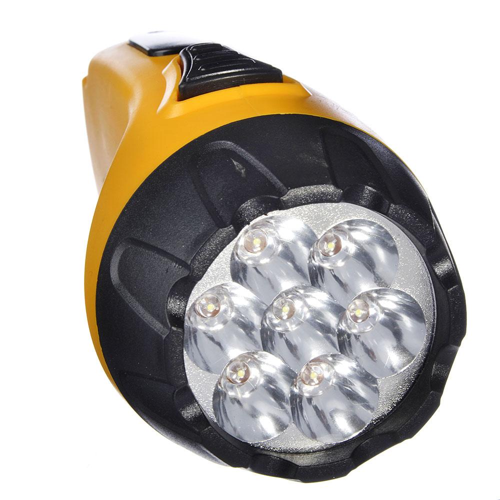 ЧИНГИСХАН Фонарь аккумуляторный 7 ярк. LED, вилка 220В, пластик, 15x6,4 см