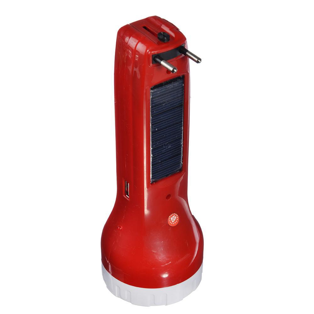 ЧИНГИСХАН Фонарь аккумуляторный 0,5 Вт + COB LED, вилка 220В, солнечная батарея, пластик, 20x7,2см