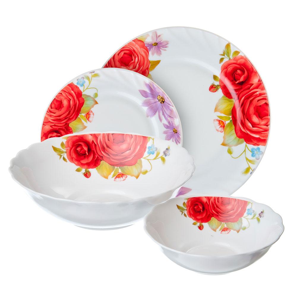 VETTA Флора Набор столовой посуды 19 пр., опаловое стекло, W-19B6