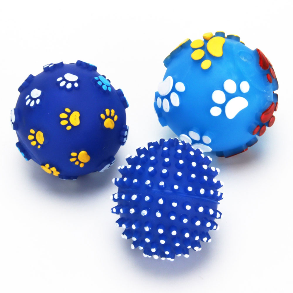 """Игрушка для кошек """"Мячик"""", резина, d7,5см, 3 дизайна"""