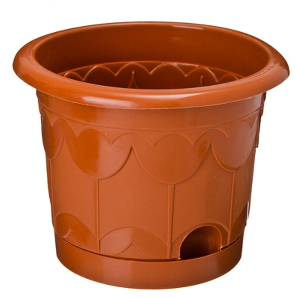 """Горшок для цветов с поддоном, пластик, 16 см, 1,4 л, 3 цвета:белый, салатовый, терракот,  """"Тюльпан"""""""