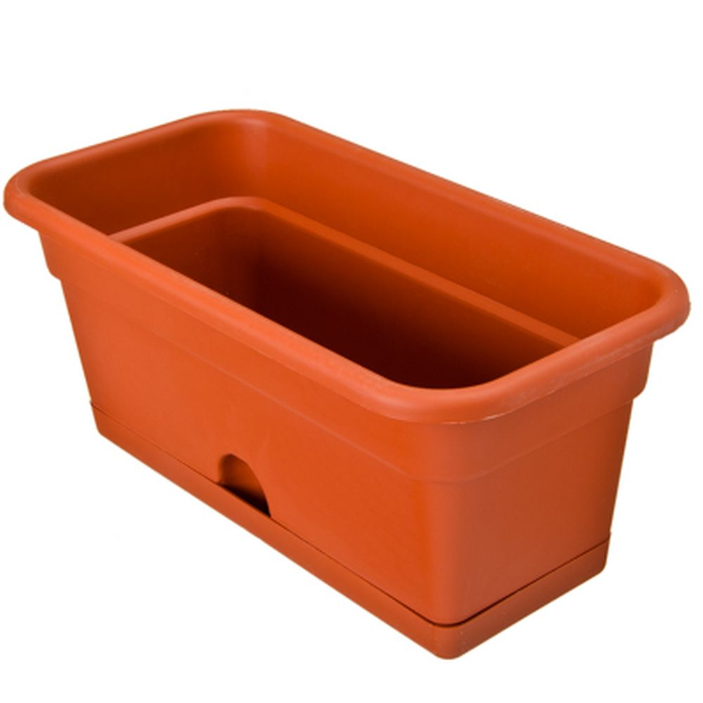 Ящик для цветов балконный, пластик, 40x20x17 см, 8 л, терракот, арт. ЯБ0140