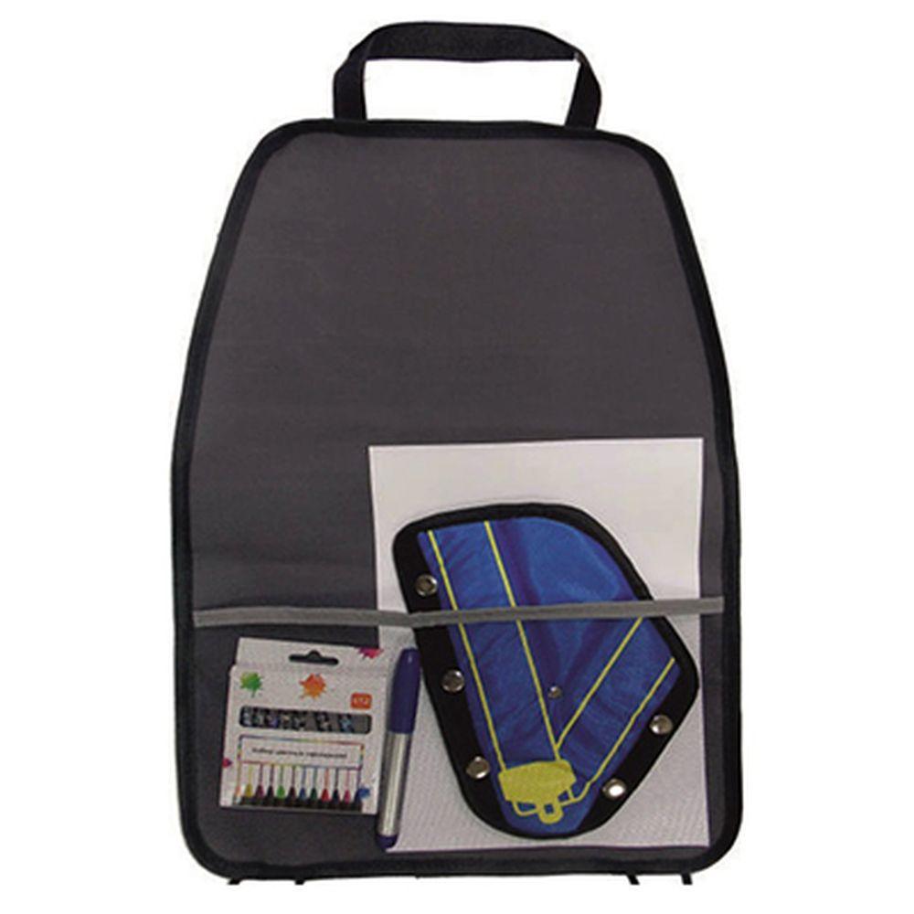 NEW GALAXY Защита спинки сиденья с карманами 60х40см тент. ткань, мишка, черн.