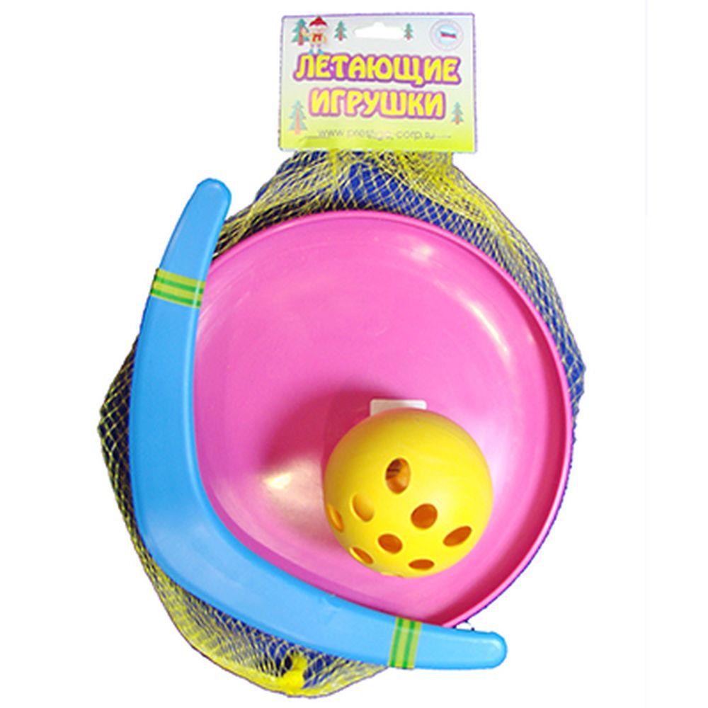 """Набор №1 """"Летающая игрушка"""" (Бумеранг """"Малый"""" 30см, Летающая тарелка """"Фрисби"""" 23см, Мячик), пластик,"""