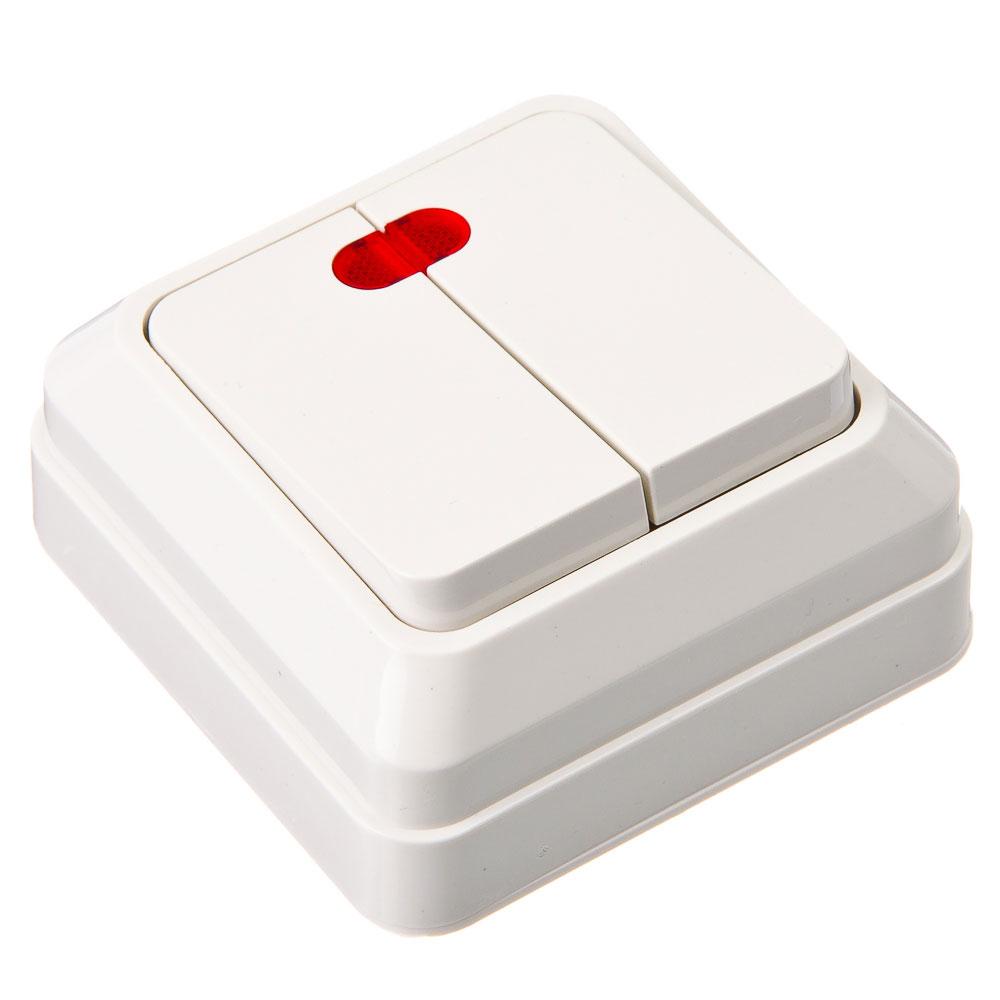 Выключатель двухклавишный с подсветкой белый, накладной 10А, 250В, пластик ABS