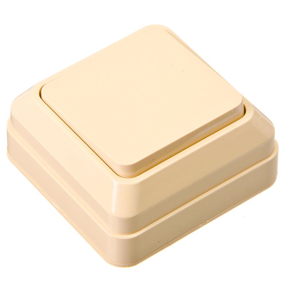 Выключатель одноклавишный бежевый, 10А, 250В, накладной пластик ABS