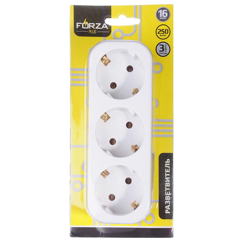 FORZA Разветвитель 3 гнезда, евро, с заземлением, 10-16A, 250V, белый, медь