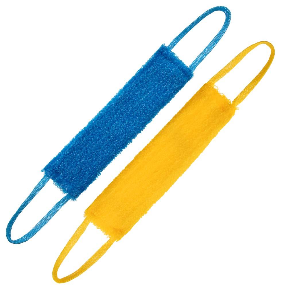 Мочалка банная с ручками кругловязанная, ПП нить, 40x11x2см, полосатая