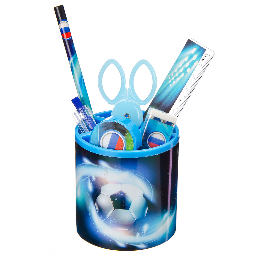 Футбол Набор канцелярский 7 пр. (линейка,карандаш,ручка,точилка,ластик,ножницы,стакан), дизайн ГЦ