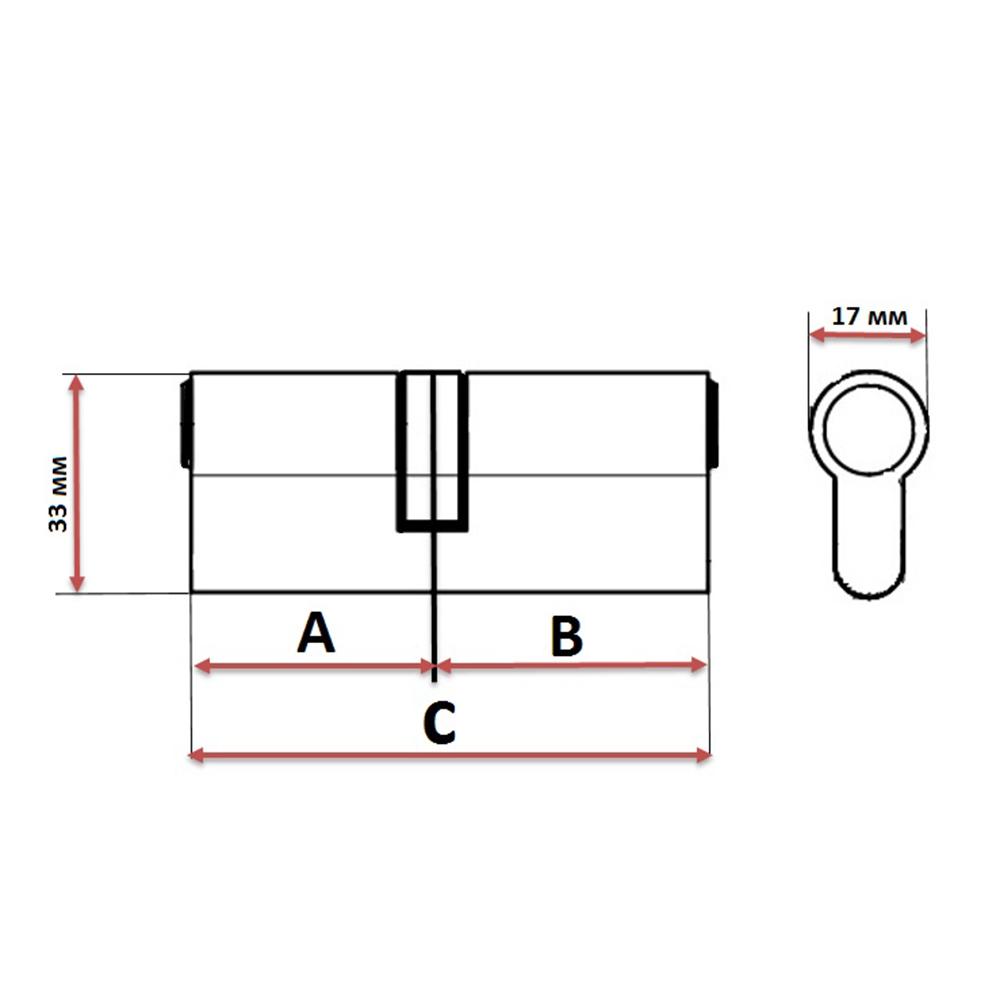 Сердцевина замка/ Цилиндровый механизм (алюминий/латунь) 90мм(35+55), кл-кл, 5кл (перфо), хром