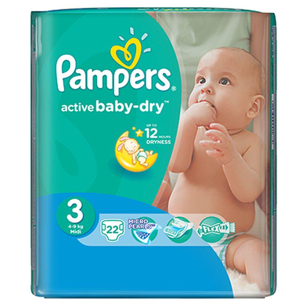 Подгузники детские PAMPERS Active Baby Midi (4-9 кг) Стандартная Упаковка пэт 22