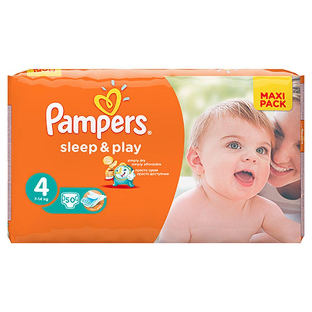 Подгузники детские PAMPERS Sleep & Play Maxi (7-14 кг) Экономичная Упаковка пэт50