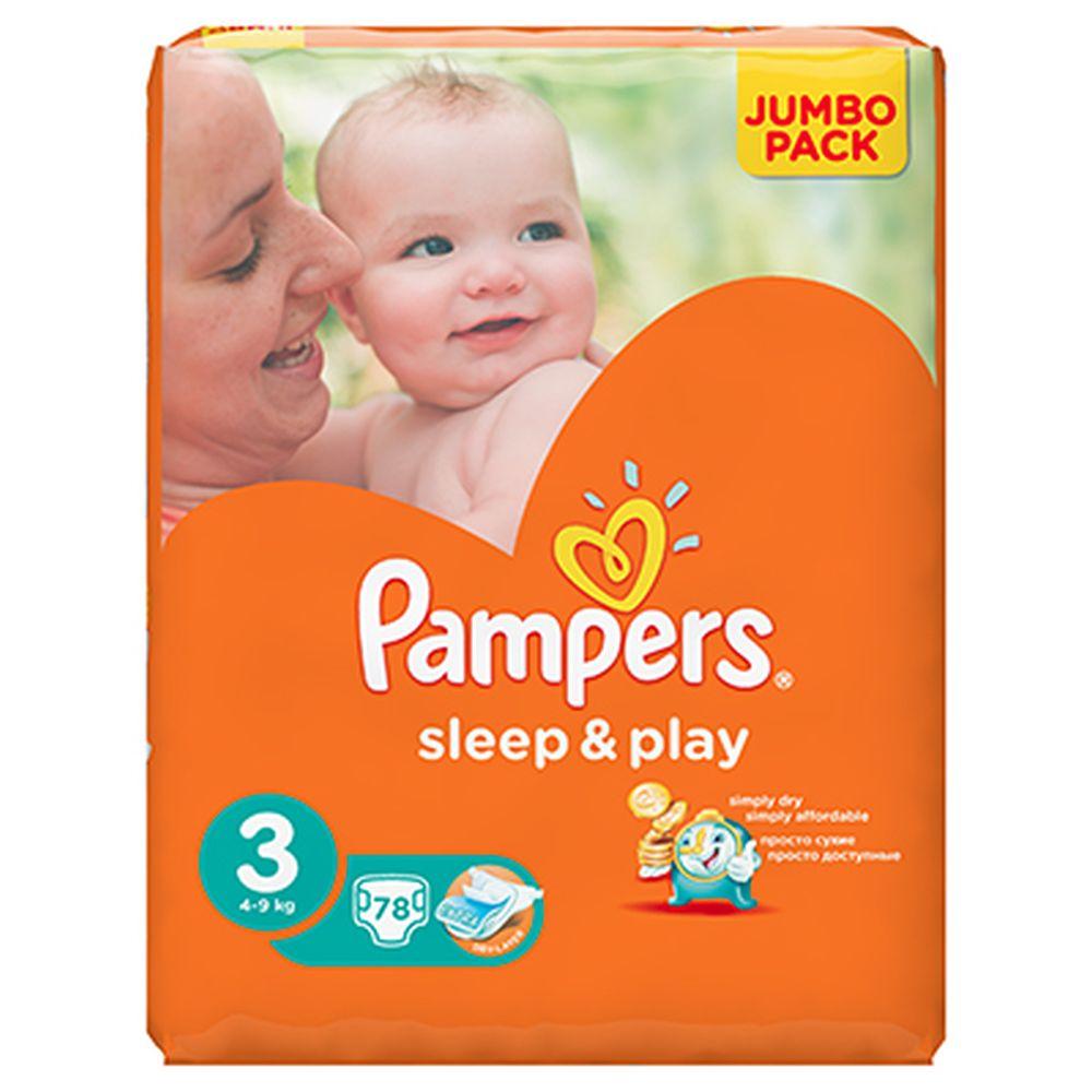 Подгузники детские PAMPERS Sleep & Play Midi (4-9 кг) Джамбо пэт 78