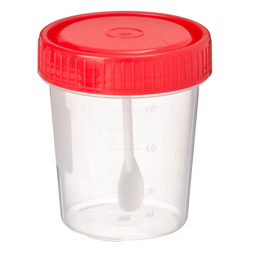 Контейнер для биоматериалов, стерильный с ложкой, пластик, 60мл.