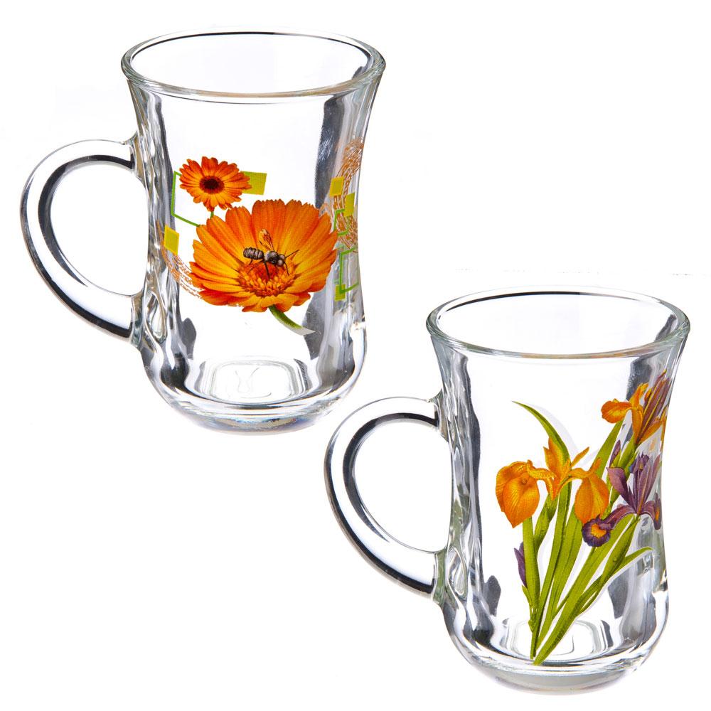 """Кружка стеклянная 140мл, """"Цветы"""", D55411/12"""