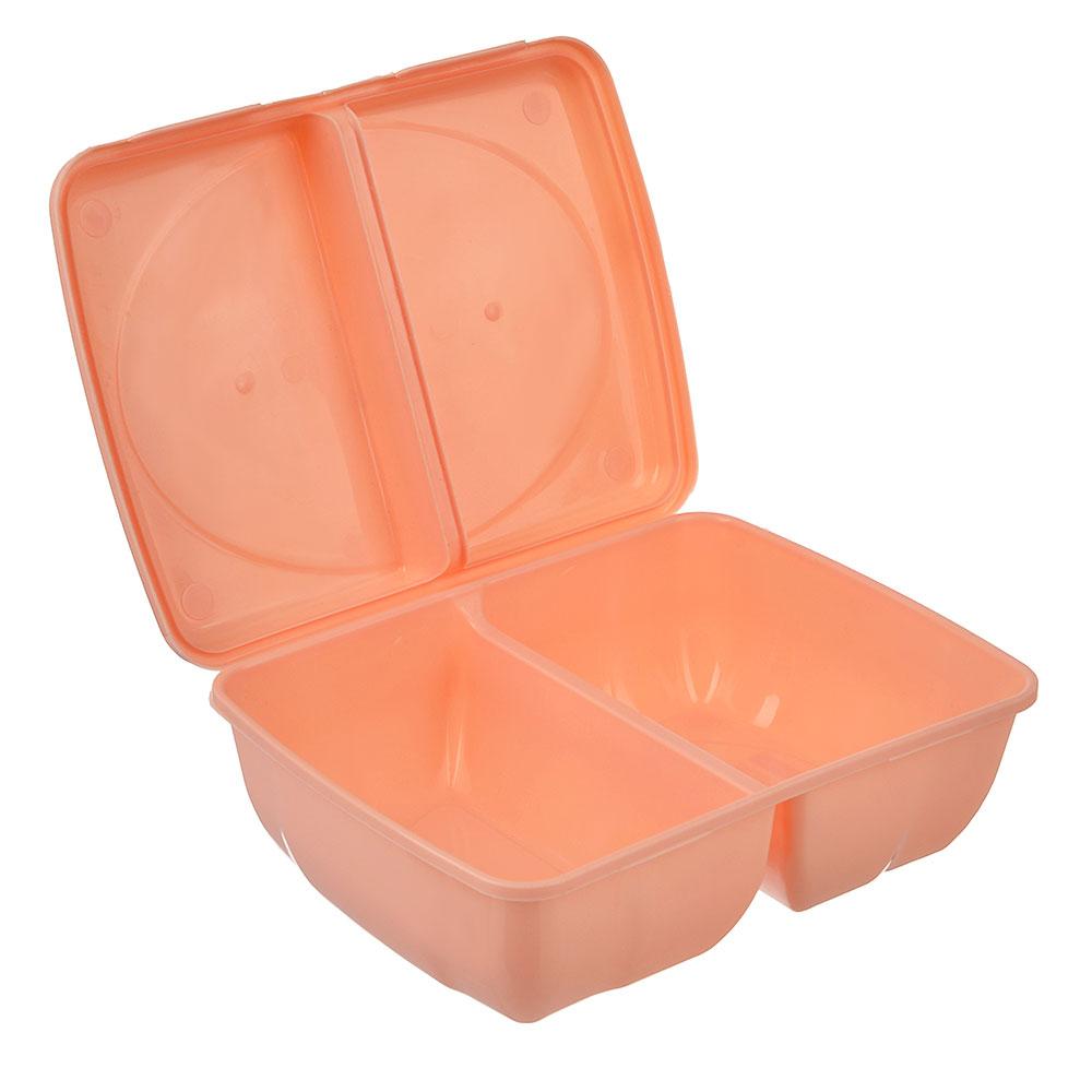 Ланч-бокс пластиковый, 19,5x14,5x6,5см, 2 отделения, 3 цвета, арт.Р2038