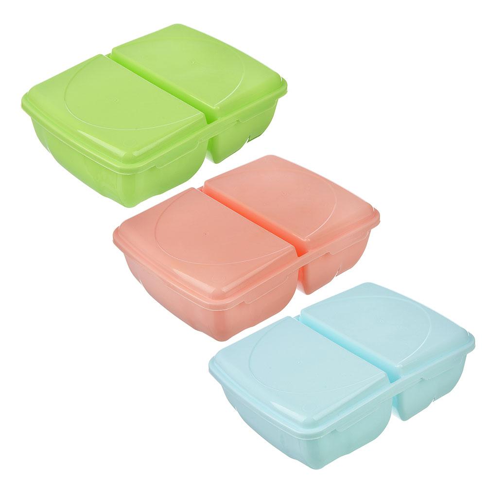 Ланч-бокс пластиковый, 19,5x14,5x6,5см, 2 отделения, Р2038