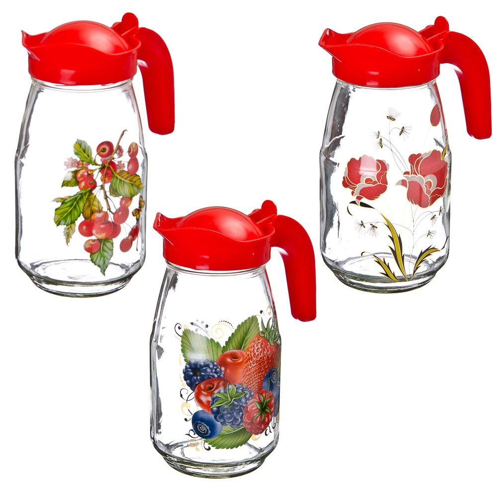 Кувшин с пластиковой крышкой, стекло, 1500мл, 3 дизайна, арт.1607-Д