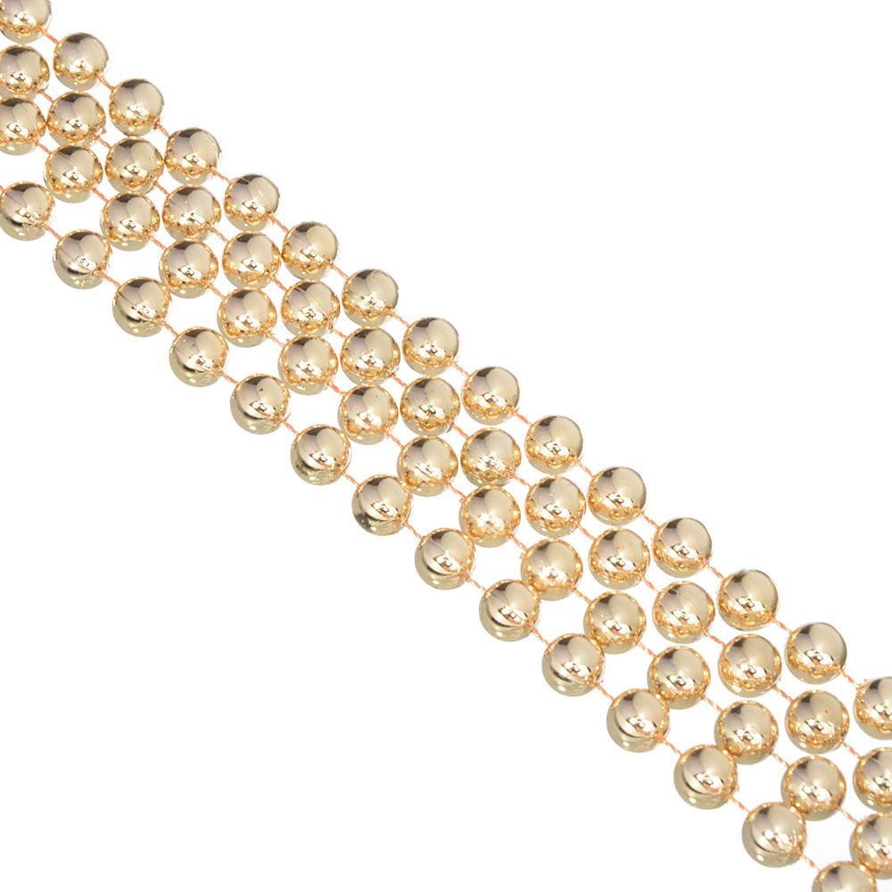 СНОУ БУМ Бусы декоративные, 270см, мелкие d1см, пластик, цвет золотой