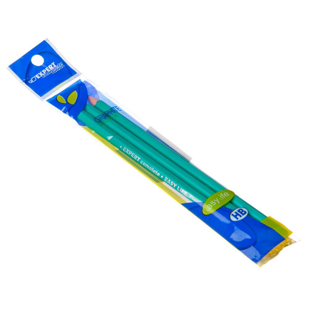 Набор карандашей 3шт, ч/гр. HB без ластика, дерево, 2,5х18х1,0см, арт.703460
