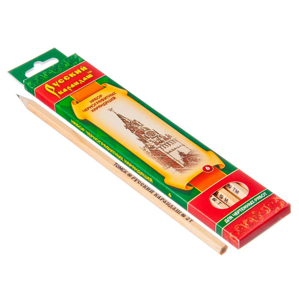 Набор карандашей 6шт, ч/гр. 2Н-2В Рус.карандаш заточ. к/у , дерево, 4,5х18х1,0см, арт.СК116/06