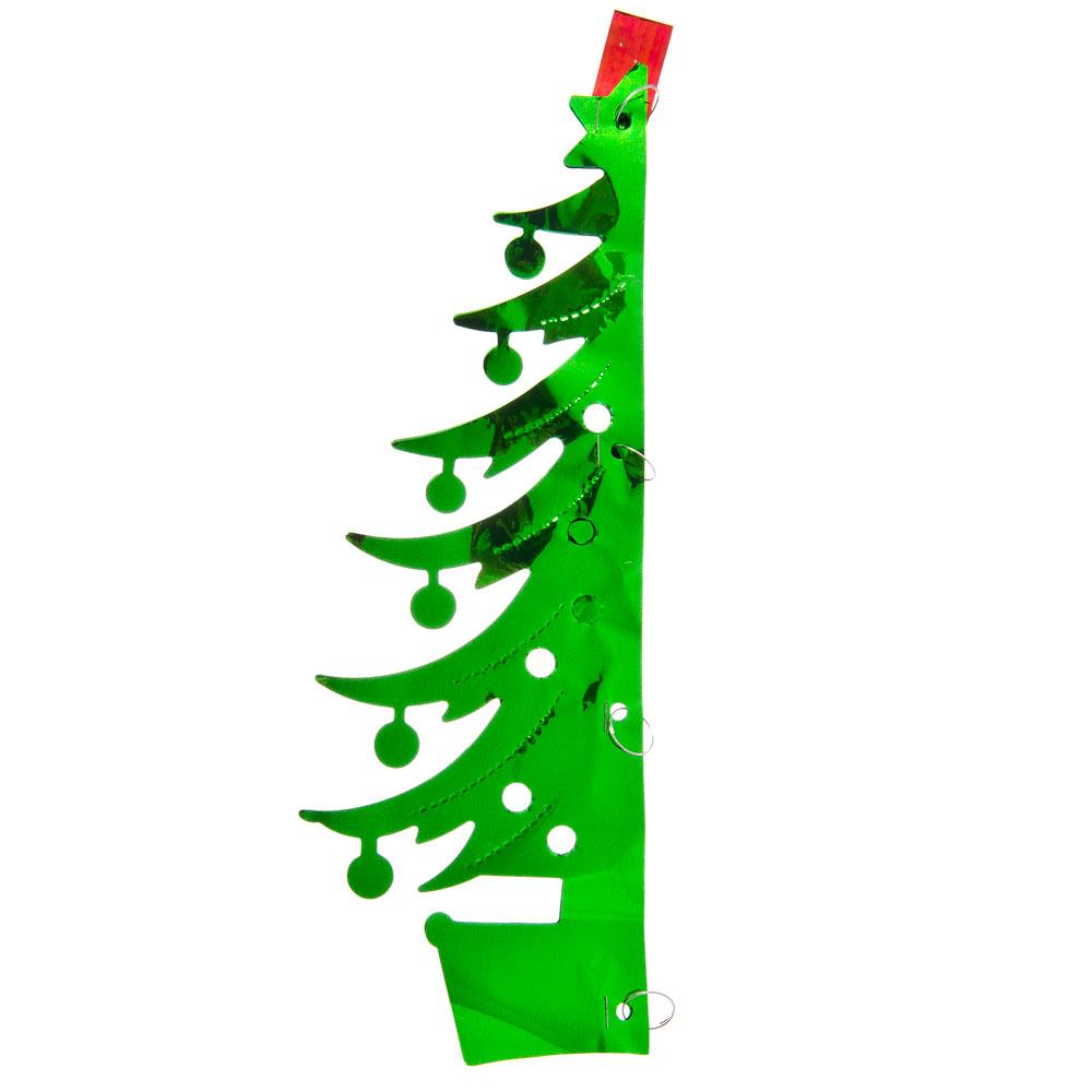 СНОУ БУМ Гирлянда-подвеска 27х18см, ПВХ, зеленая, в виде Елочки, арт.0024