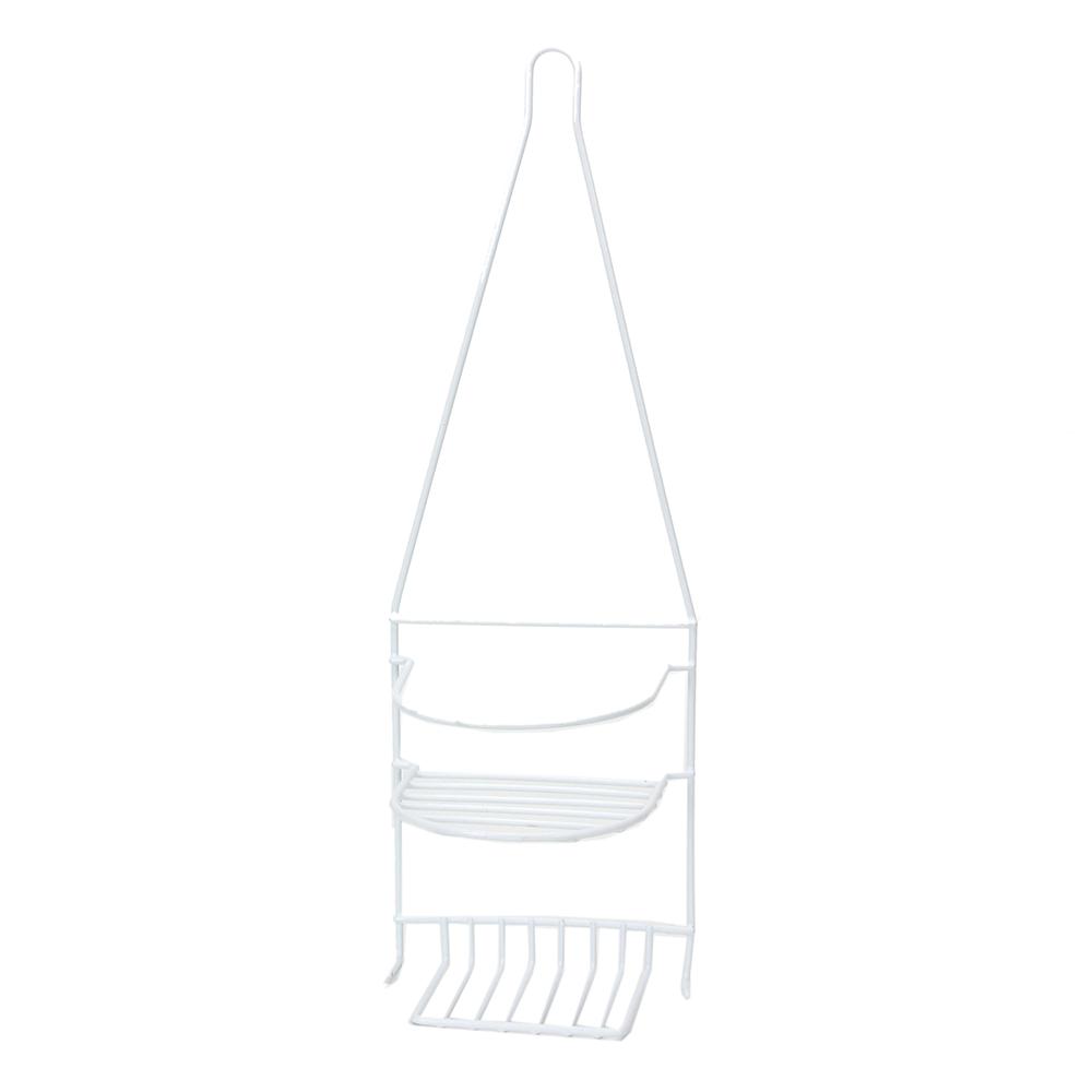 Полочка навесная для ванной комнаты, двухъярусная, металл, ПВХ покрытие, 25х45х8см