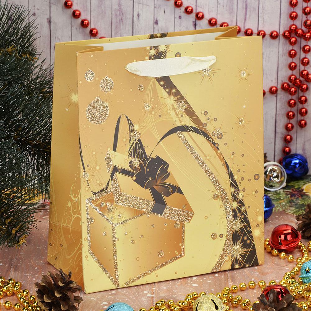 СНОУ БУМ Пакет подарочный бумажный, 18х21х8,5см, 4 дизайна, арт.11025