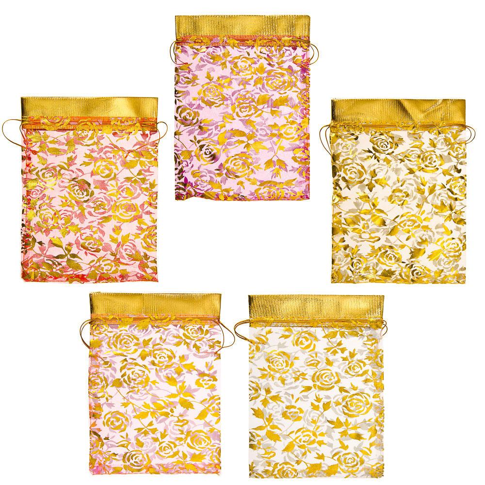 "Мешок из органзы, 13х18см, ""Розочки"", 5-6 цветов"