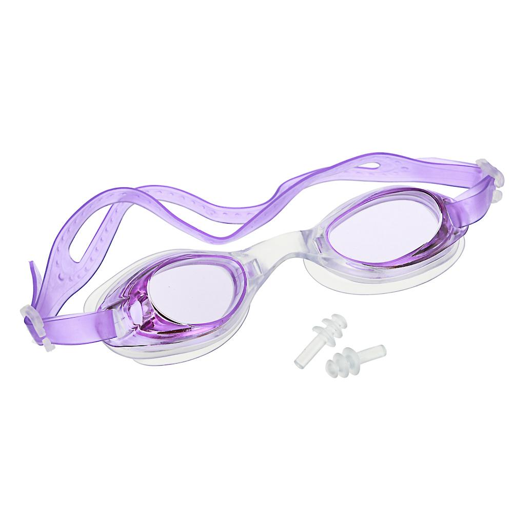 Очки для плавания, незапотевающие, затычки для ушей в ПВХ-чехле, ПВХ, силикон, 4-5 цветов, SILAPRO