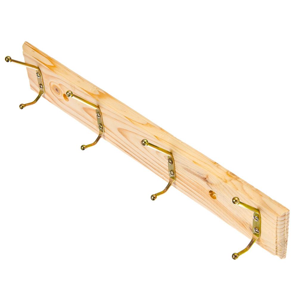 Вешалка настенная, 4 двойных крючка, дерево, металл, 39х7см