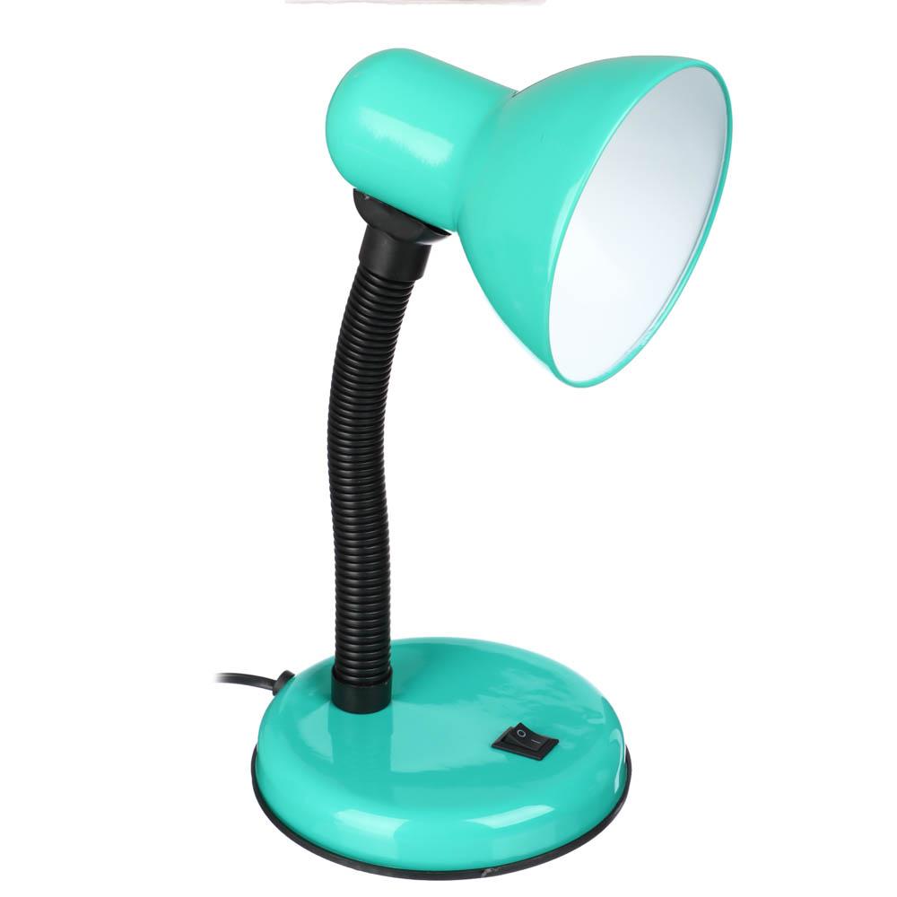 Лампа настольная с выключателем, пластик, металл, Е27, 220V, 50Hz, 40W, 28см, шнур 67см, 5 цветов