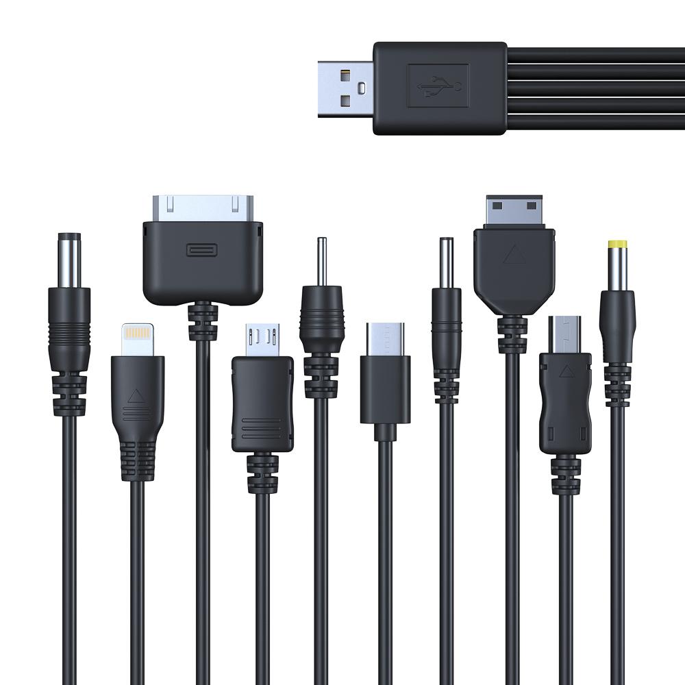 FORZA USB Кабель для зарядки телефонов универсальный, 10 в 1, 24см