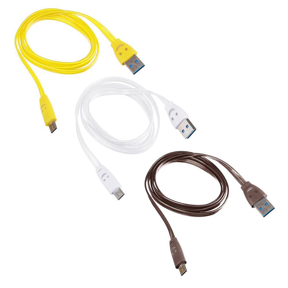 """FORZA Кабель для зарядки Micro USB, 1м, 1А, плоский кабель """"смайлик"""", 3 цвета"""