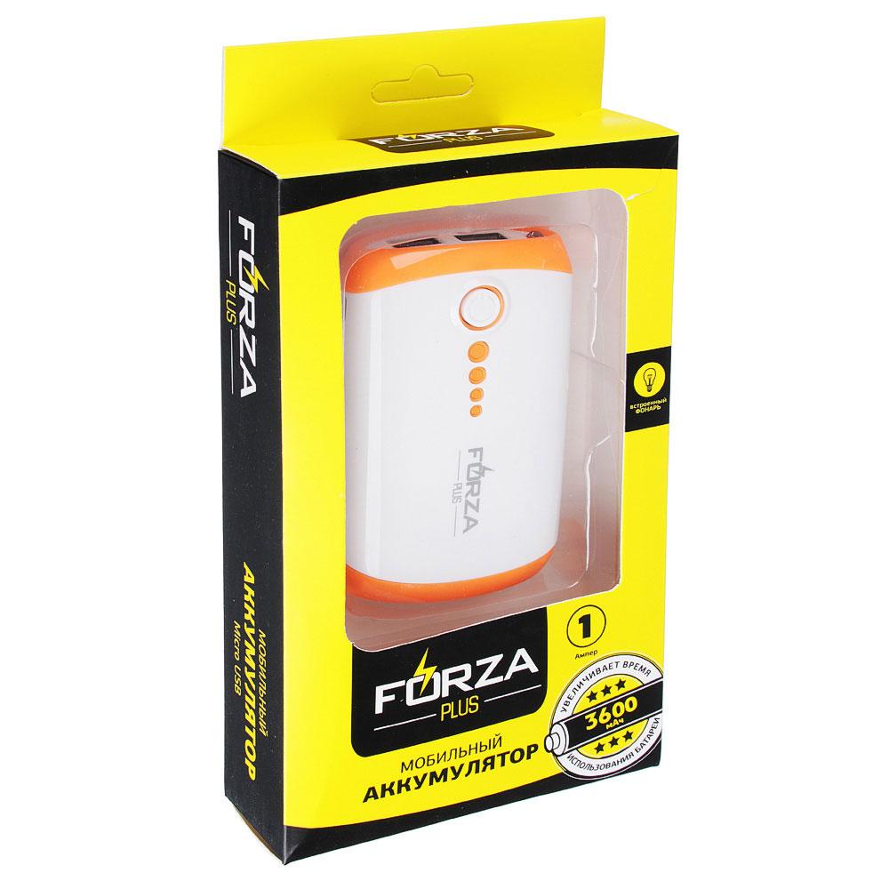 FORZA Аккумулятор мобильный, 3600-4000мАч, 1A, Micro USB, 3 цвета