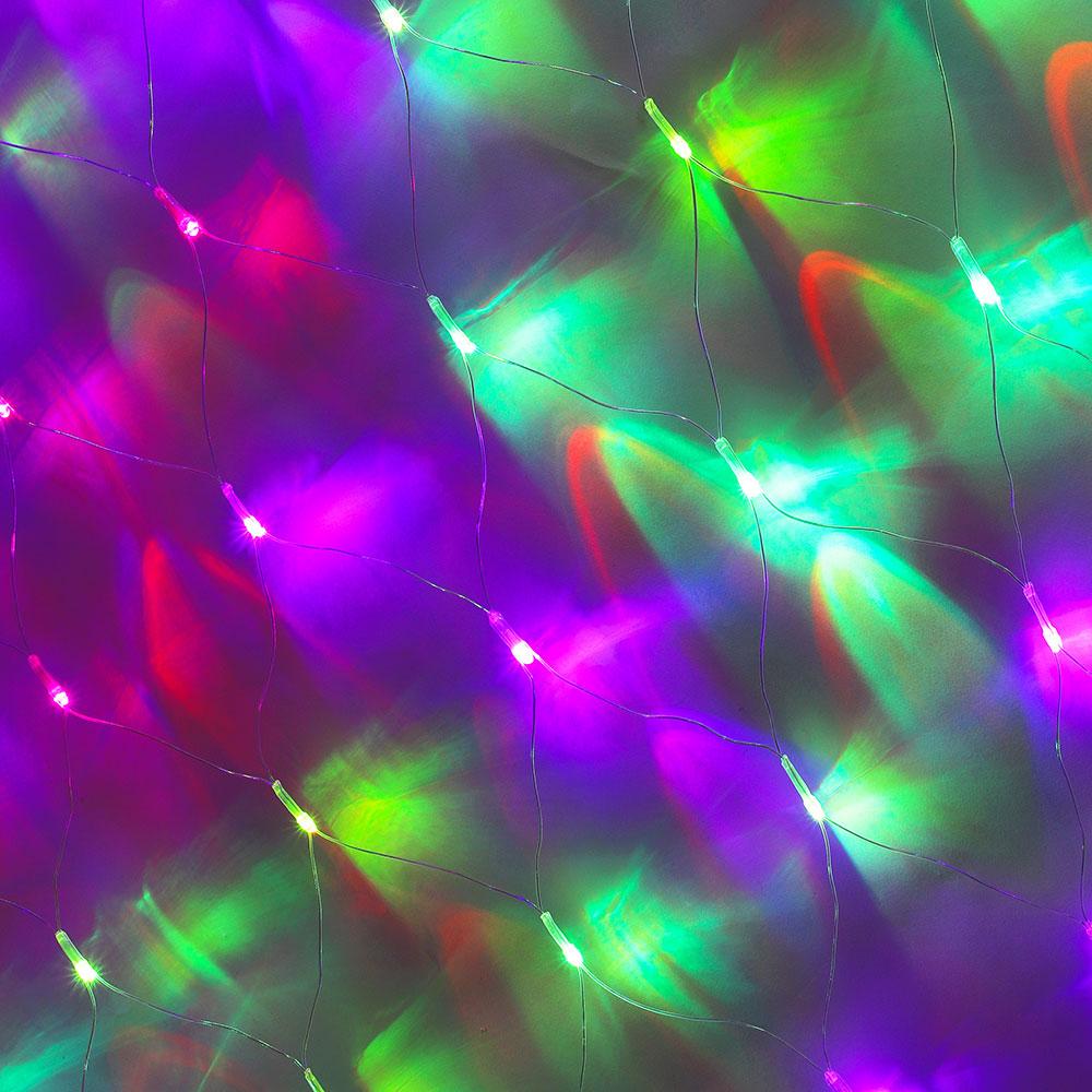 Гирлянда электрическая сетка СНОУ БУМ 144 LED, 1,6x1,6 м, RGB хамелеон, прозрачный провод, 220В