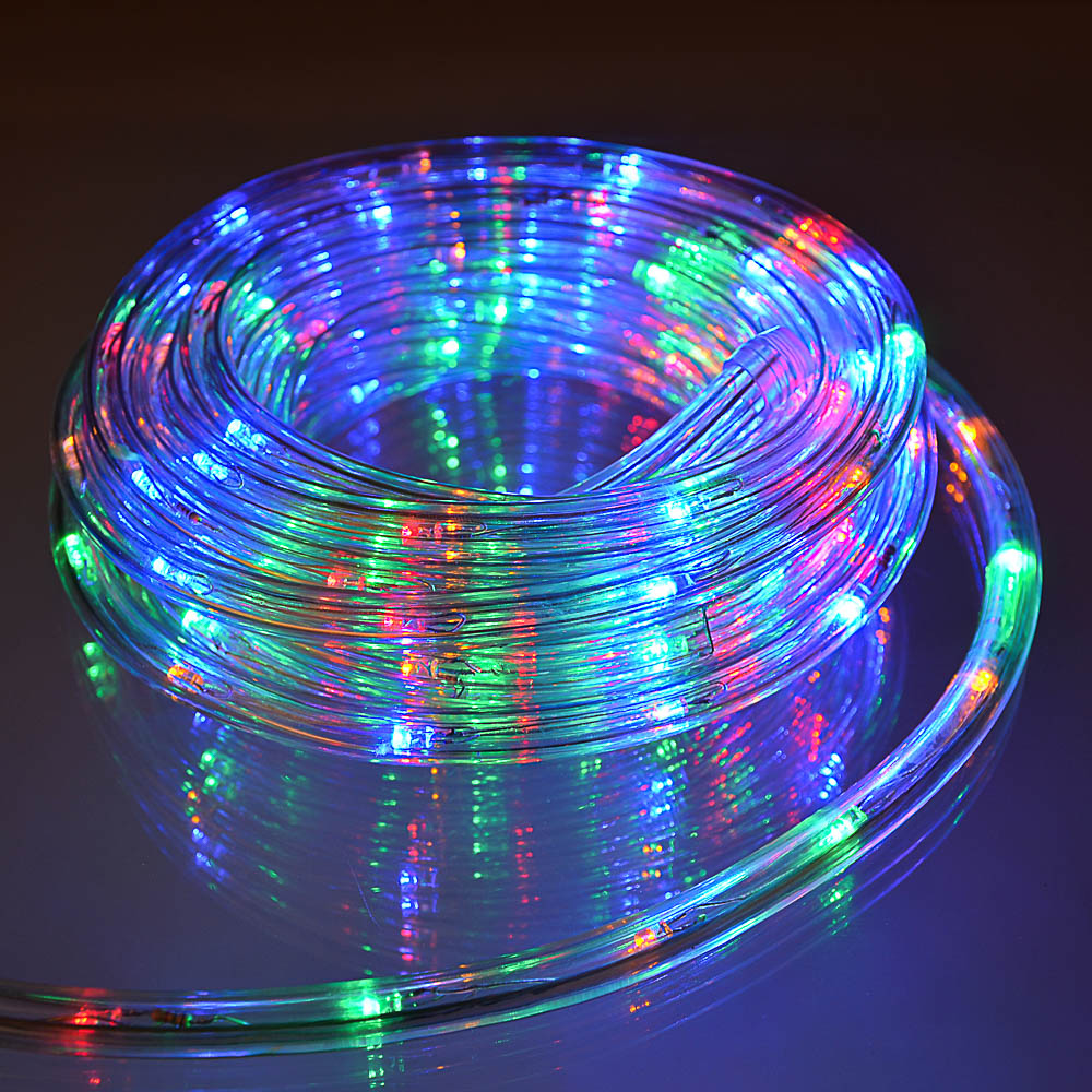 Светодиодный шнур СНОУ БУМ 10м, 24LED/m, 2 дорожки, 8 режимов, мультицвет, 220В
