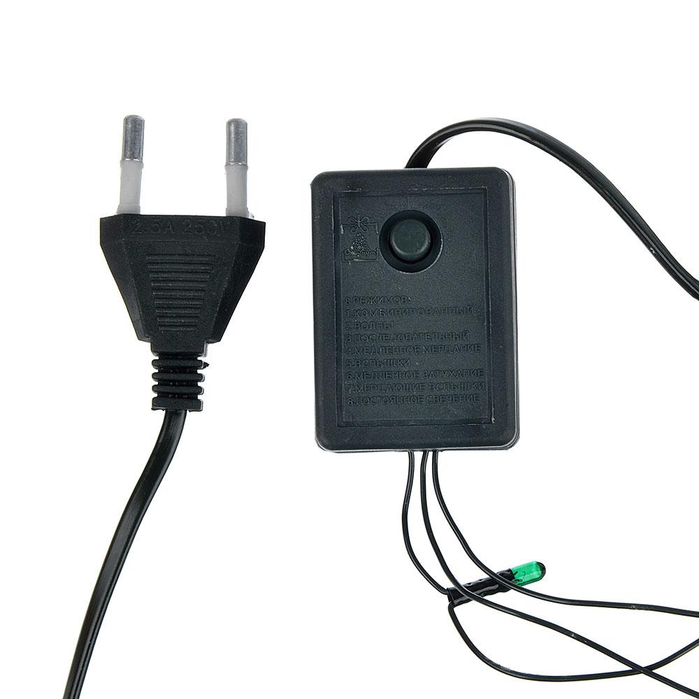 СНОУ БУМ Гирлянда электрическая вьюн 3м, 30 ламп,мультицвет, 8 реж, темный провод, 220В