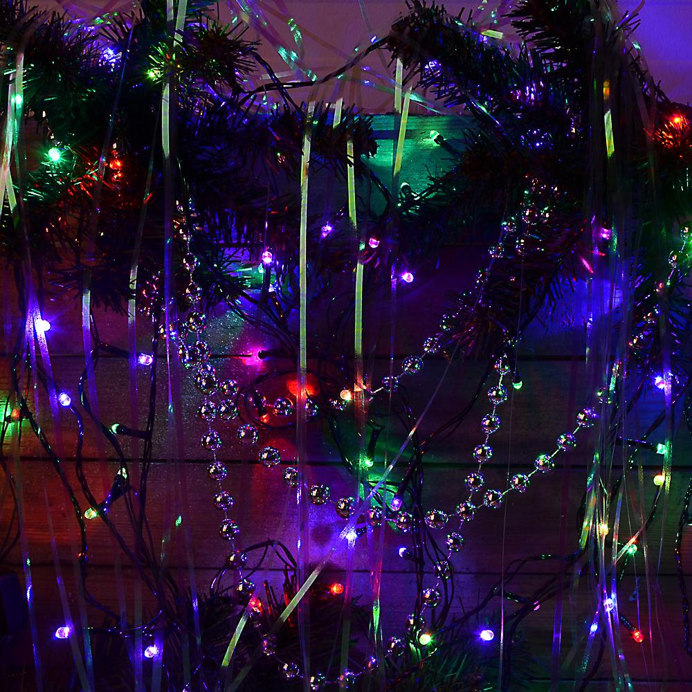 Гирлянда светодиодная Вьюн СНОУ БУМ 9м, 100 LED, RG/RB хамелеон, темный провод, 220В