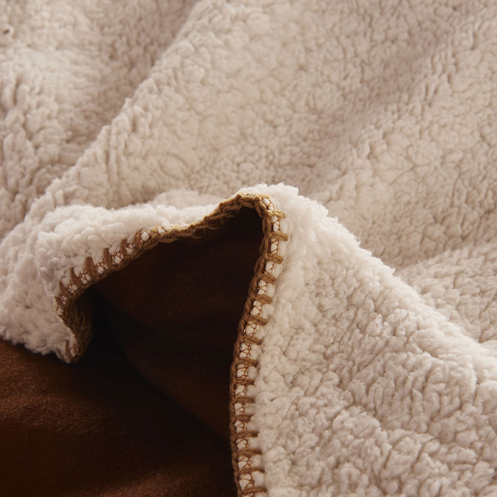 Плед меховой двусторонний, полиэстер, 180x200см, бело-коричневый
